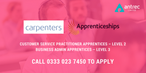 Carpenters Law Apprenticeships - contact Antrec on 0333 023 7450