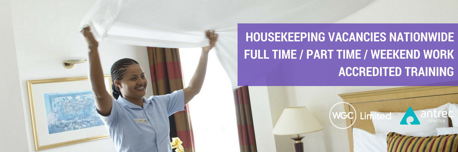 WGC Housekeeping vacancies nationwide, flexible working hours. Call 0333 023 7450 to register your interest.